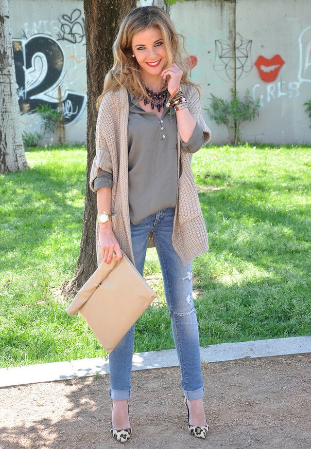 We like the layering, heels, seasonless sweater,  and jewelry. If she is in jeans (not distressed), don't want male in jeans, too. Don't like the bag.