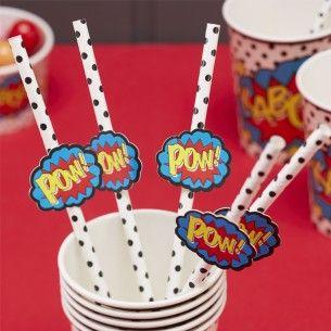 Comic Superhero Party Paper Straws