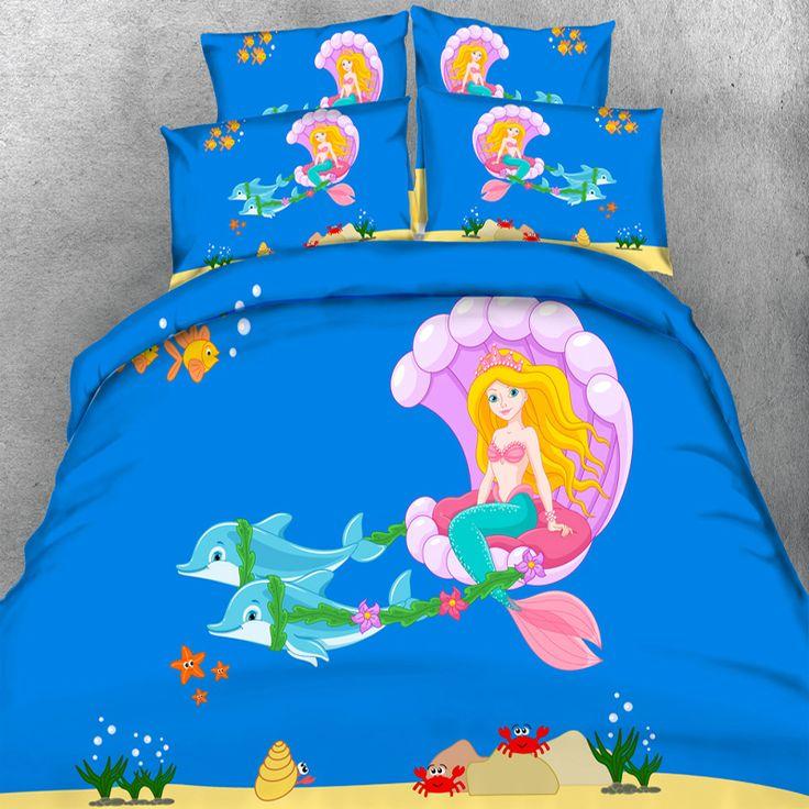 Free Shipping New Animal HD digital 3d print  Children's cartoon Sea princess and dolphins bed set 4 Parts Per Set