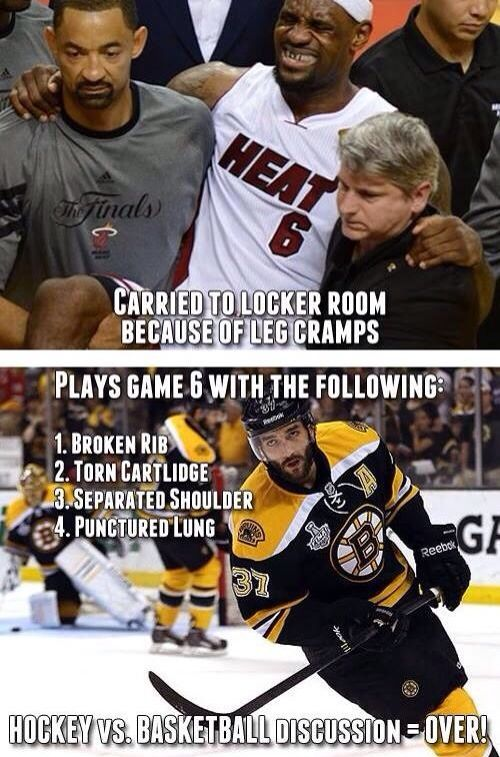 Hockey players are BAD ASS!  Especially the Boston Bruins players!  So proud they went as far as they did this year.