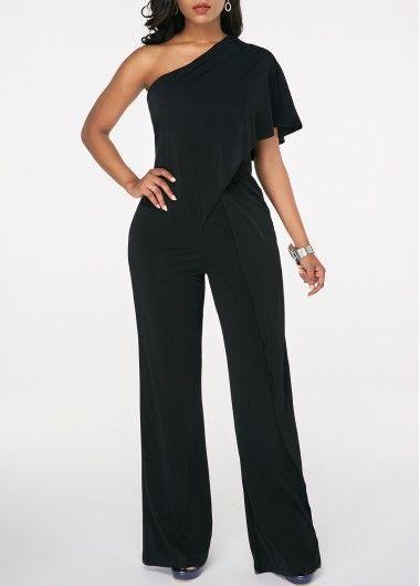 d05cecd9b Overlay Embellished Black One Shoulder Jumpsuit | Products ...
