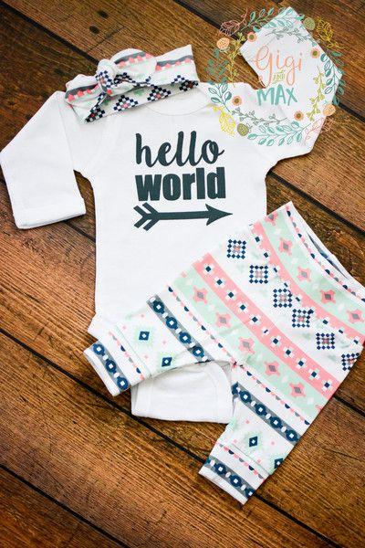 Pink Mint Charcoal Aztec Newborn Outfit