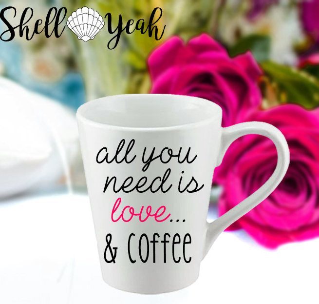 All You Need Is Love and Mug | Quote Coffee Mug | Cute Typography Gift Mug | Typography Mug | Cute Quote Mug Gift | Inspirational Quote Mug by ShellYeahbyMichelle on Etsy