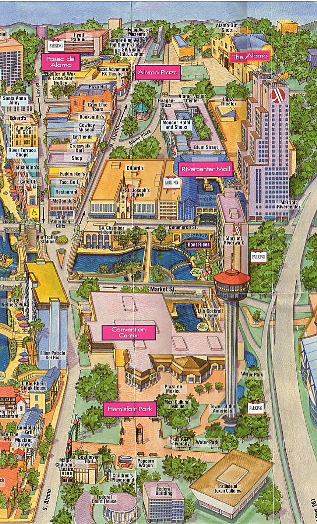 Close Up Of River Center Mall Map Of Alamo Plaza Amp River