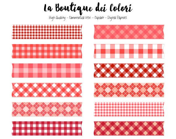 Red Gingham Washi Tape Clipart Cute Diamond Tablecloth Clip Etsy In 2021 Washi Washi Tape Clip Art