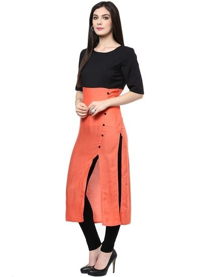 Styles Closet Designer Plain Peach Colour Cotton Kurti - Styles Closet Kurtas & kurtis for women | buy women kurtas and kurtis online in indium