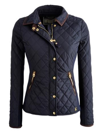 Joules Women's Jersey Ribbed Quilted Jacket, Marine Navy.                     The ribbed jersey side panels and curved hem of this quilted jacket give it a figure flattering shape. Neat and fitted it has smart gold poppers, suedette trims and a photographic horse print lining.  Fans of our Braemar gilet will be pleased to know that this is the jacket version.
