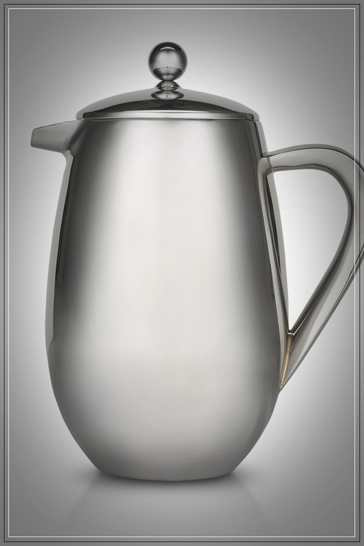 French Coffee Press: Elegant polished stainless steel press with double-walled design keeps fresh coffee hot for hours.