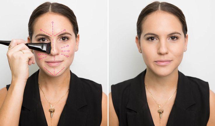 Per applicare una base parti dal centro e muoviti verso l'esterno Se applichi un fondotinta solo intorno al mento avrai l'effetto di una maschera di trucco. Per distribuire uniformemente la base parti dal centro e vai verso l'esterno del viso. Il risultato sarà più naturale.