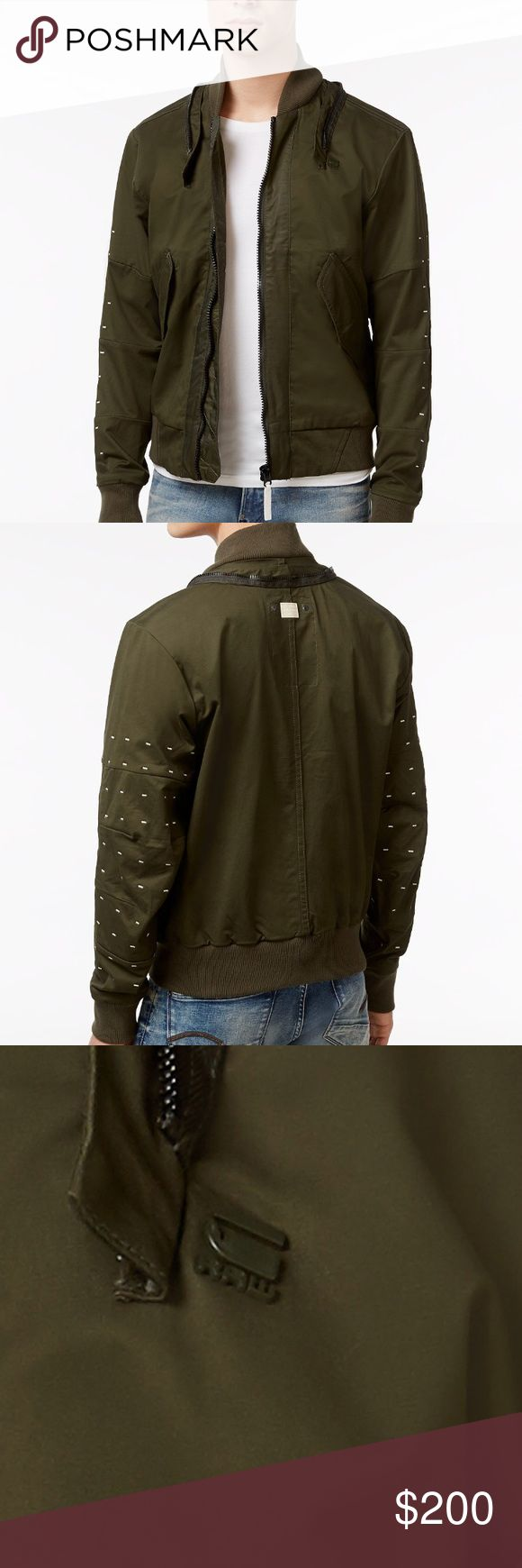 NWT G-Star RAW MS Submarine Rackam Bomber Jacket G-Star RAW elevates your casual style with this cool hooded bomber jacket, the perfect layer for your weekend-ready look.  Attached hood with drawstrings Front zipper closure  Two pockets at front  Stitching detail at sleeves Cotton/elastane Dry clean Imported G-Star Raw Jackets & Coats Bomber & Varsity