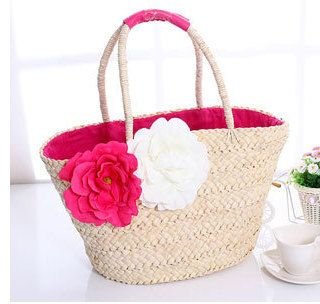 Bohemia Woven Straw Bag with flower. Rural Bag. by proudhoney, $79.00