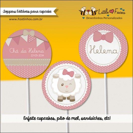Toppers para Cupcake Chá de Bebê Ovelhinha Rosa Seco para imprimir