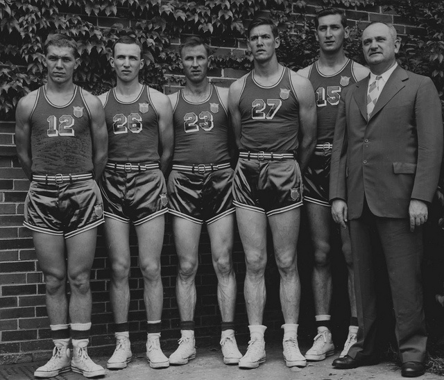1947-48 UK Members of US Olympic Team    The 17th installment of UK's Sesquicentennial Series remembers an Olympic team strong on UK basketball talent. Photo courtesy of Explore UK.