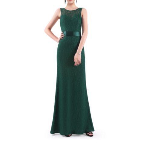 Vestido Fiesta Encaje Verde Oscuro   Suen-Vestidos de fiesta