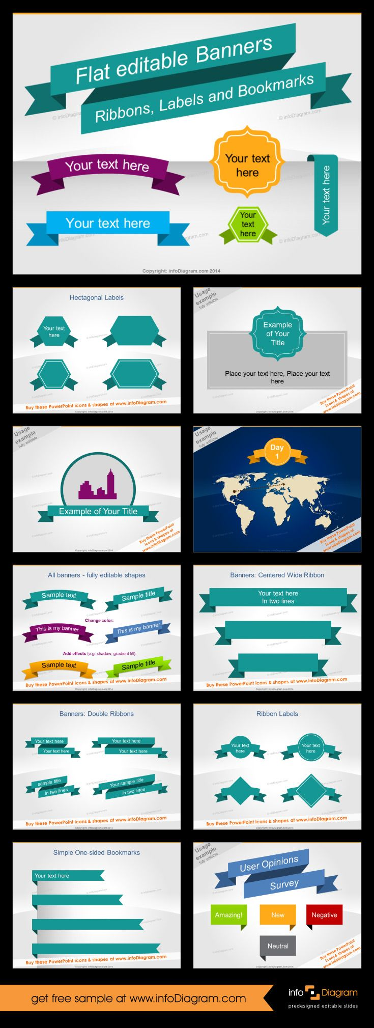 Flat editable banners for PowerPoint