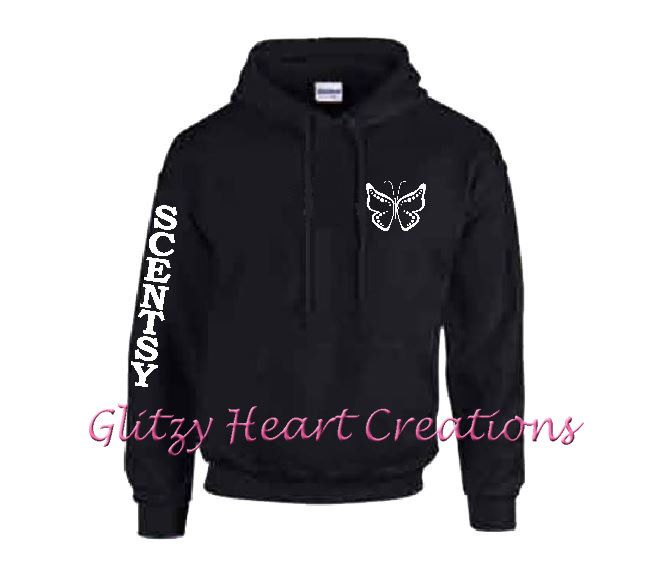 Scentsy, Scentsy hoodie, Scentsy clothing, Scentsy consultant, Authorized Scentsy Vendor, black pullover with Vertical Sleeve Butterfly Des by GlitzyHeartCreations on Etsy