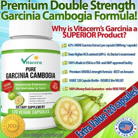 Amazon.com: Garcinia Cambogia Pure Extract 1600mg with 60% HCA - (120 Capsules) . Recommended By Dr Oz, Weight Loss & Appetite Suppression. ...