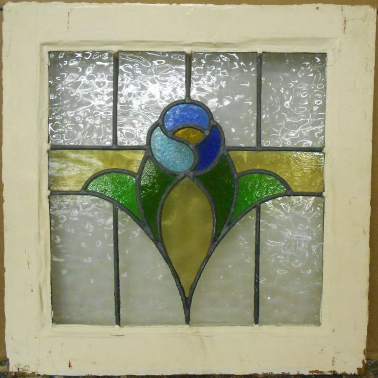 Old english leaded stained glass window pretty floral band for Window glass design 5 serial number