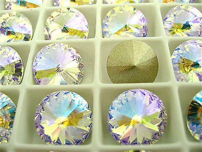 2 Crystal Glacier Blue Foiled Swarovski Crystal Rivoli Stone 1122 12mm