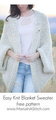 Easy Knit Blanket Sweater Pattern via Mama In A Stitch Knit and Crochet Patterns - Jessica