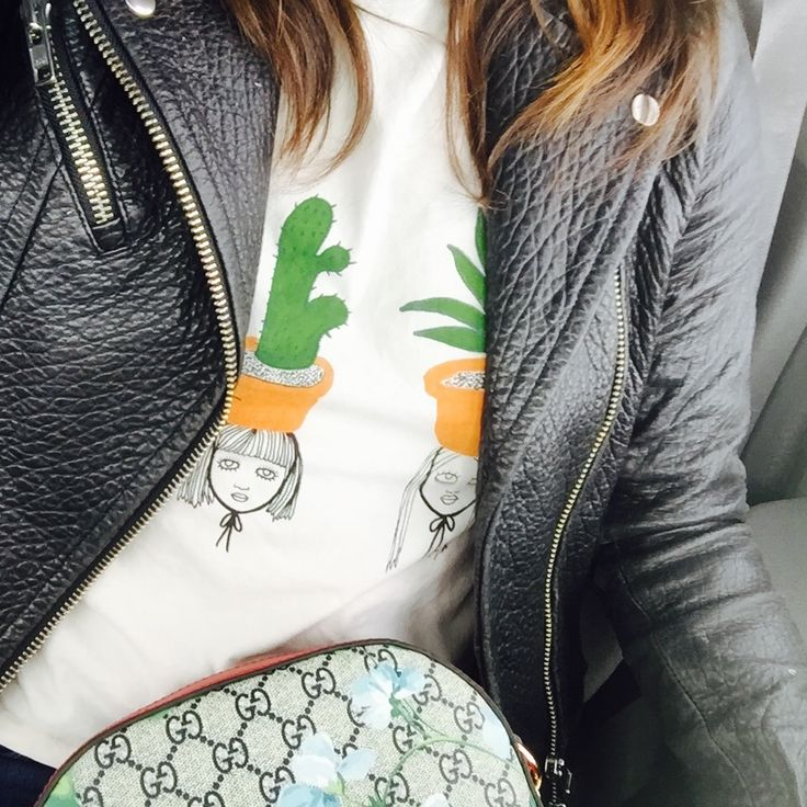 Mackage leather jacket (a Montreal-based brand), cacti and succulent t-shirt by Monki and my new Gucci purse.