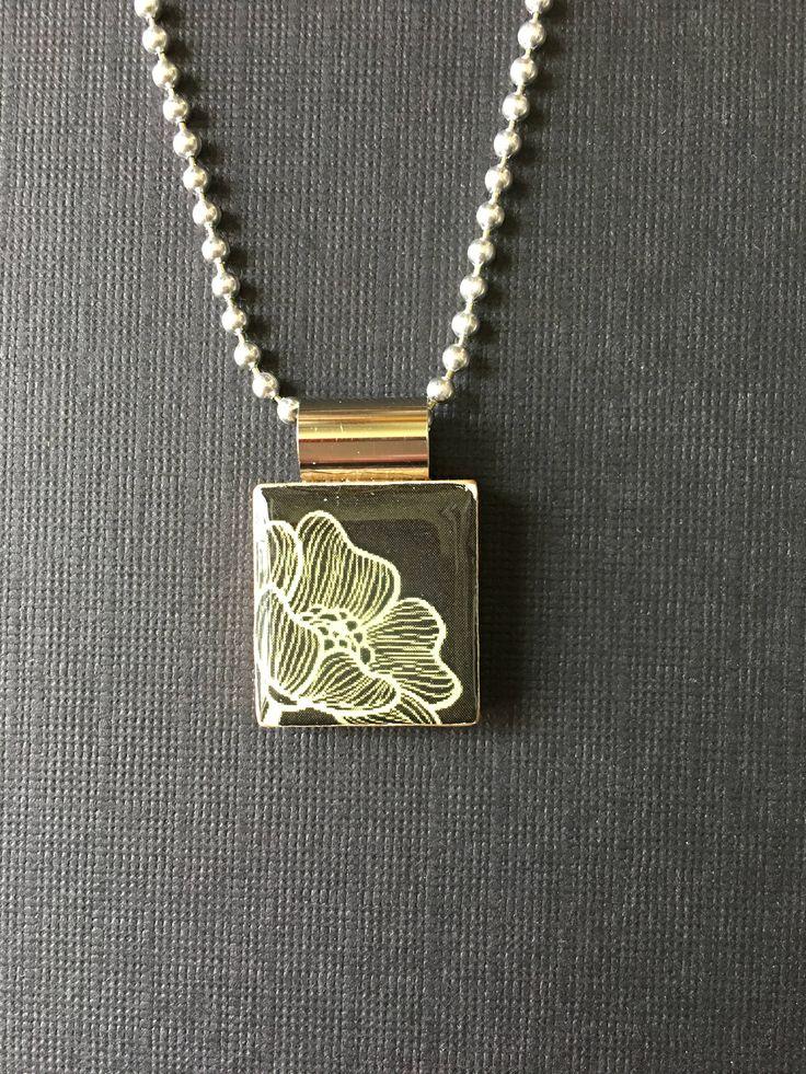 Black and White scrabble tile necklace, black and white floral jewelry, handmade scrabble tile jewelry, lotus flower pendant, modern flower by InSmallPackages on Etsy