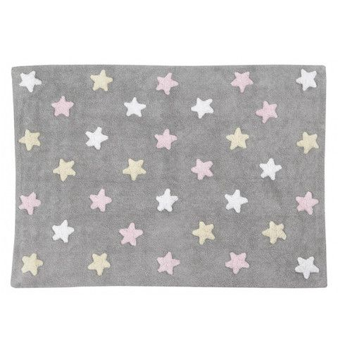 GULVTEPPE - LC TRICOLOR STARS (GREY/PINK)