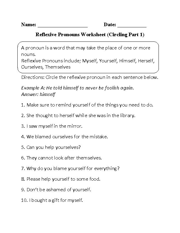 Printables Reflexive And Intensive Pronouns Worksheet 1000 ideas about pronoun worksheets on pinterest circling reflexive pronouns worksheet part 1