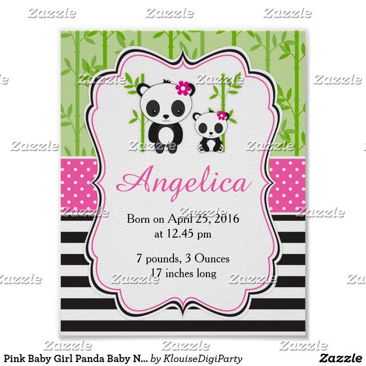 Pink Baby Girl Panda Baby Nursery Wall Art