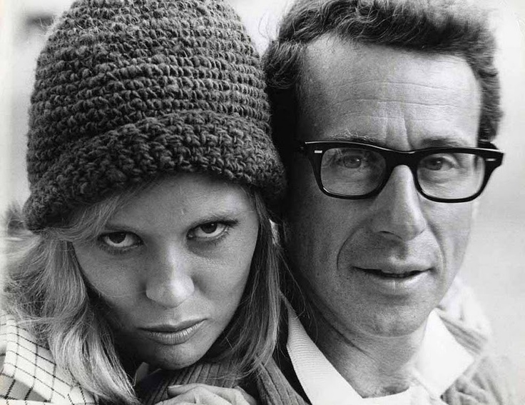 Faye Dunaway and director Arthur Penn during the filming of Bonnie & Clyde, 1967.