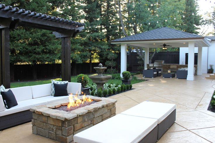 rectangular fire pit Patio Traditional with backyard BBQ