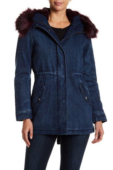 Image of Lucky Brand Faux Fur Trim Denim Parka