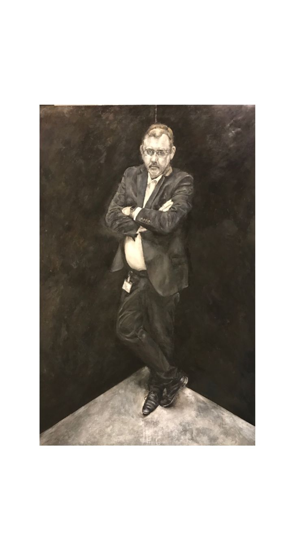 Cornered.  Oil painting  Inspired by Irving Penn's corner portrait series.