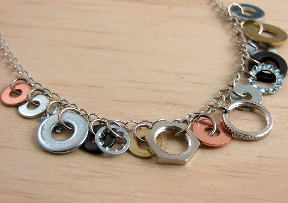 metal washer earrings | ... Necklace Mixed Metal Hardware Jewelry Industrial Washers Charm Chain