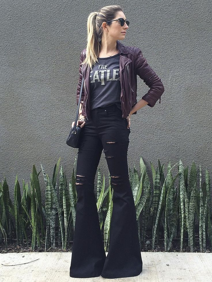 I like that she showed you can style bellbottoms to look more edgy and not the…