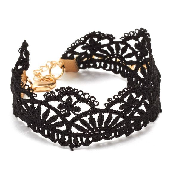 ShoeDazzle Bracelets Lace Around Womens Black ❤ liked on Polyvore featuring jewelry, bracelets, black, basic tshirt, lace jewelry, basic tee shirts and basic t shirt