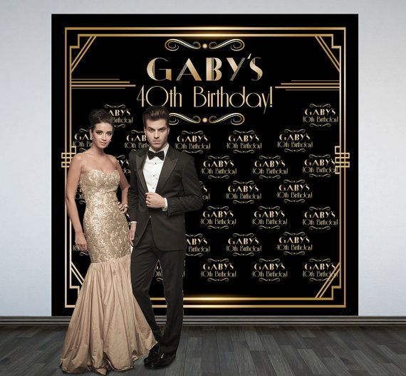 Great Gatsby Party Personalized Photo Backdrop, Art Deco