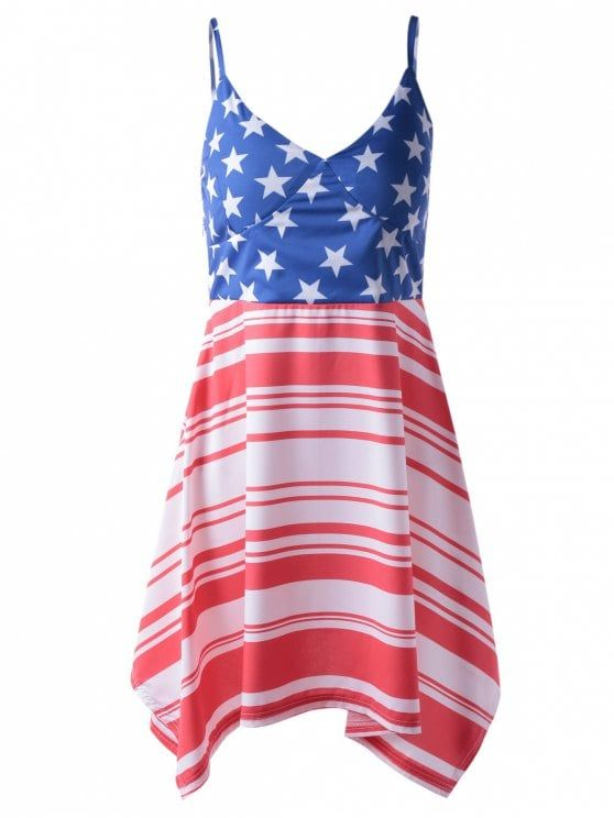 Americana Flag Printing Spaghetti Strap Asymmetric Patriotic Dress - Red And White And Blue S #Shoproads #onlineshopping #Dresses