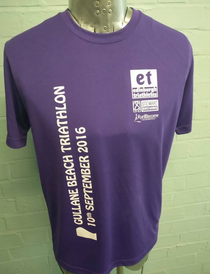 Triathlon Printed T-Shirts for Edinburgh Triathletes sponsored by Stewart Brewing and Run and Become for Gullane Beach Triathlon, September 2016. Printed onto our Sports T-shirt with custom front design print in white.