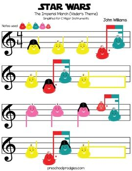 Stars Wars - Imperial March Sheet Music for C Major Instruments like Boomwhackers and Deskbells
