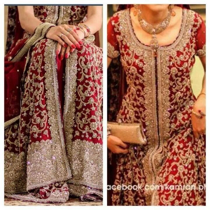 Pakistani wedding, dress by umer saeed. Pakistani fashion, Pakistani bride, #Pakistani dress | red bridal with silver embroidery | dress for baraat or reception