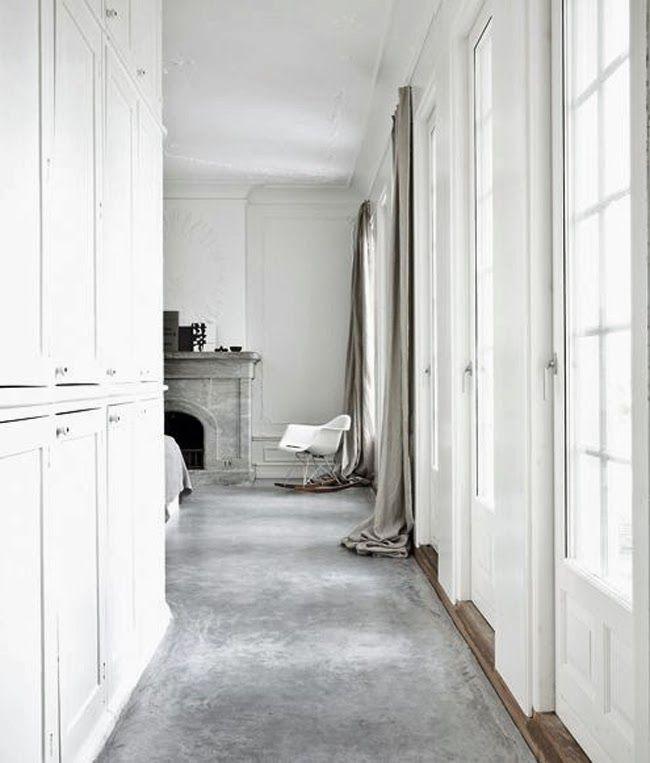 concrete floor and linen curtain