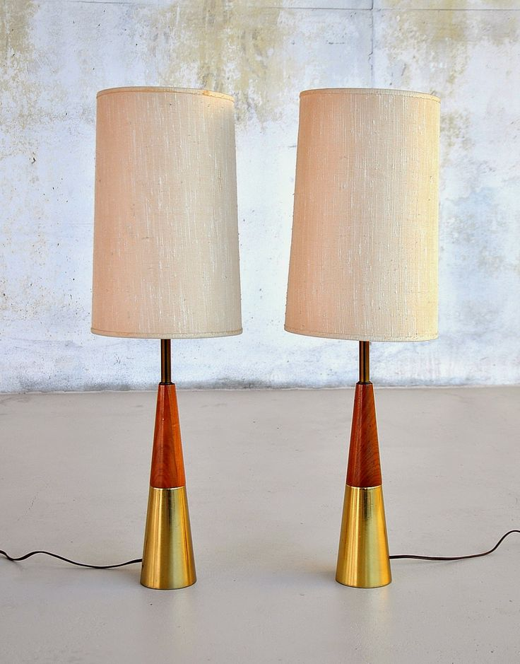 Tony Paul; Brass and Walnut Table Lamps for Westwood, 1950s.