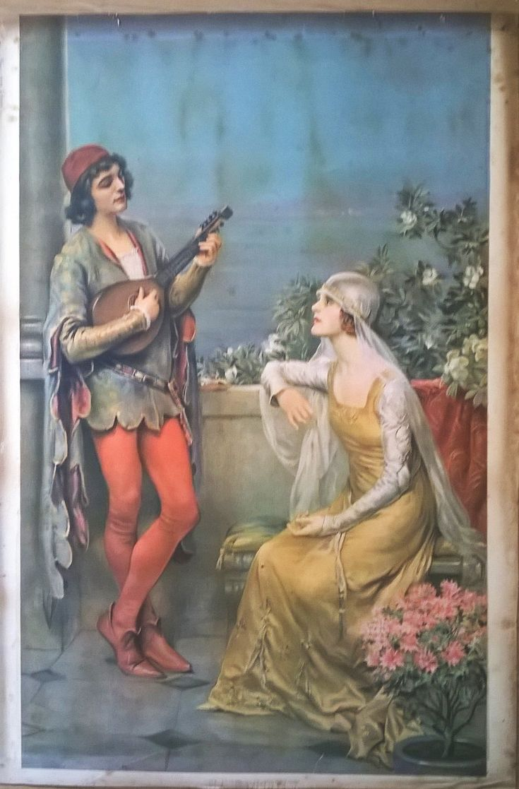 Beautifully Romantic Early Victorian Chromolithogaph Titled - 'Harmony' by…