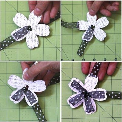 Ribbon flower embellishment. so gonna make this.. actually I will make tons of these. Great for gift tags, string them instead of regular ribbon, scrapbook pages, hair accessories or gift bows.
