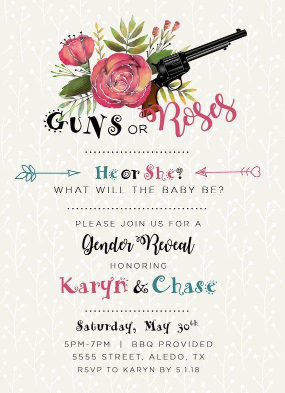 Guns Or Roses Gender Reveal Evite Invitation Baby Shower Gender Reveal Baby Shower Invitations Gender Reveal Party Theme Gender Reveal Themes