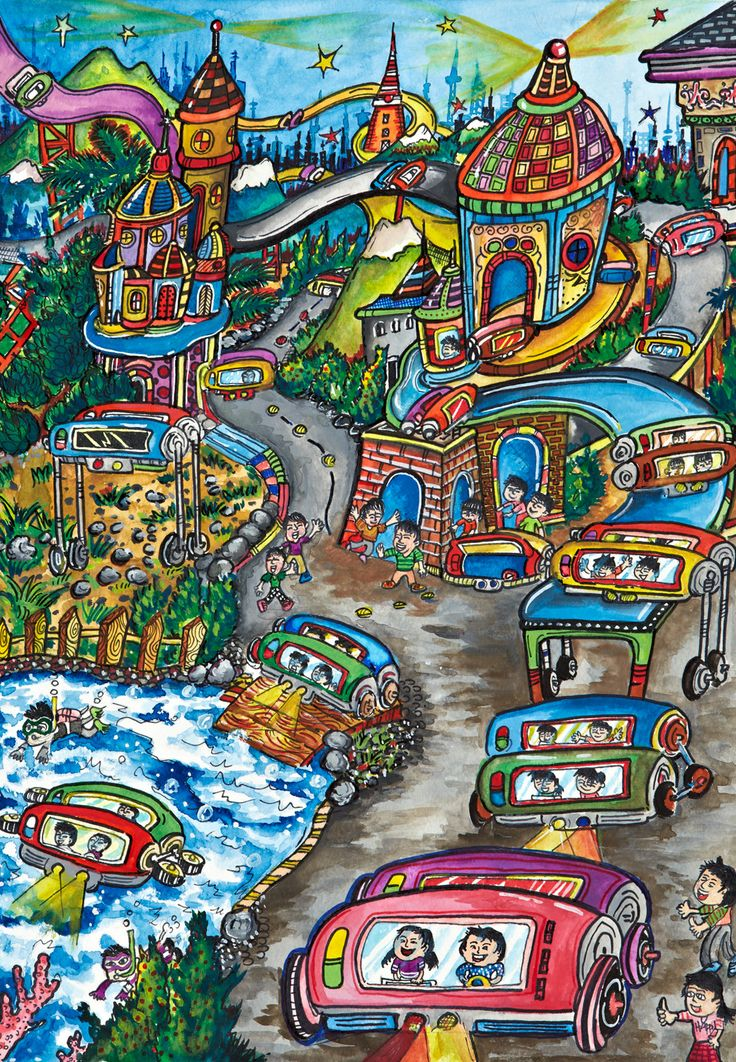 'Untitled' by Jacky Ding, Aged 13, Taiwan: 3rd Contest, Bronze #KidsArt #ToyotaDreamCar