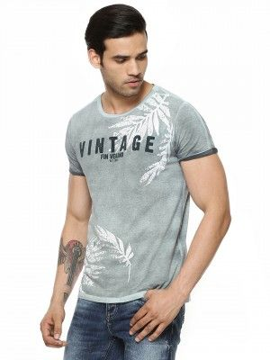 BREAKBOUNCE Printed T-Shirt In Oil Wash