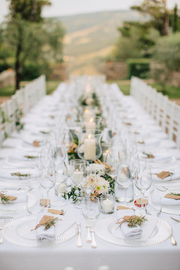 Pure White Table Setting | Anoushka G Bridal Gown | White Lace Bridesmaid Dresses | Classic Destination Wedding in Italy | Pastel Blooms | Al Fresco Dining & Festoon Lights | images by M&J Photography | http://www.rockmywedding.co.uk/julie-dean/ Outdoor Weddings | Aisle Perfect