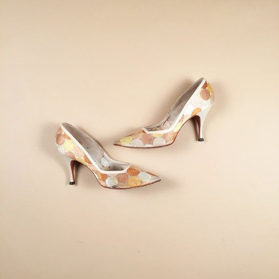 50s 60s vintage gold copper silver pumps w by AmericanDrifter